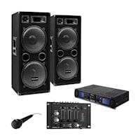 """DJ PA SET """"DJ-27""""- Verstärker PA Boxen 2000W 3/2-Kanal DJ Mixer USB SD MP3"""