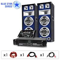 "DJ PA Set Blue Star Series ""Beatmix"" 1x PA-Verstärker 800W, 2x PA-Lautsprecher 600W, 1x 3/2-Kanal DJ Mischpult, 1x Kabel- & Steckersetset"