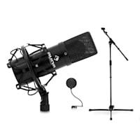 Set microfono con microfono USB stativo e protezione nero