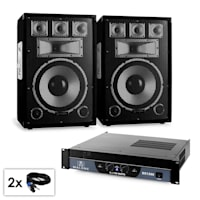 """PA Set Sapphire Series 'Warm Up Party' 12plusII Pair of 12"""" Speakers & Amplifier 1500W"""