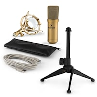 MIC-900G USB Set Microfono V1 | Condensatore-Microfono oro Stativo