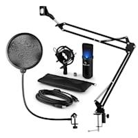 MIC-900B-LED, USB MIKROFONNÍ SADA V4, ČERNÁ, kondenzátorové mikrofony, POP FILTER, mikrofonní rameno, LED