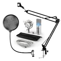 MIC-900S-LED Set Microfono USB V4 Condensatore Anti-Pop LED Braccio argento