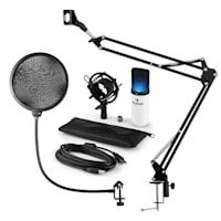 MIC-900WH-LED, USB MIKROFONNÍ SADA V4, BÍLÁ kondenzátorové mikrofony, POP FILTER, mikrofonní rameno, LED