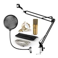MIC-900G Set Microfono USB V4 Condensatore Anti-Pop Braccio oro