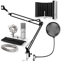 MIC-900S Set per Microfono USB V5 Condensatore Filtro Antipop Schermo Braccio Argento