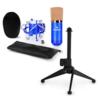 CM00BG Set Microfono V1 - Microfono Da Studio Colore Nero-Dorato Con Ragno & Supporto Da Tavolo