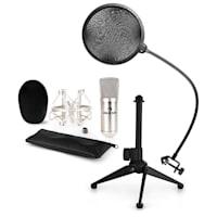 CM001S Mikrofon-Set V2 Kondensatormikrofon Mikrofonstativ POP-Schutz silber