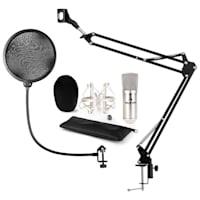 CM001S Set Microfono V4 Condensatore Braccio Anti-Pop argento