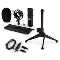 CM001B Set Microfono V1 Microfono a Condensatore Adattatore USB Stativo nero