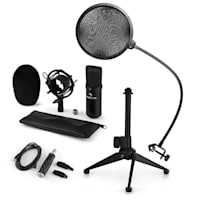 CM001B Set Microfono V2 Microfono a Condensatore Adattatore USB Stativo nero