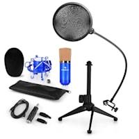 CM001BG Set Microfono V2 - Microfono A Condensazione Adattatore USB Stativo Blu