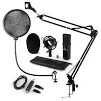 CM001B Set Microfono USB V4 Microfono A Condensatore Adattatore USB Braccio Per Microfono Filtro Antipop Nero