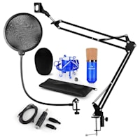 CM001BG Set Microfono USB V4 Microfono A Condensatore Adattatore USB Braccio Per Microfono Filtro Antipop Blu