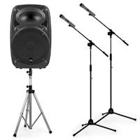 "Streetstar 12 Set Impianto PA Mobile 12"" Stativo Speaker 2 Stativi Microfono"