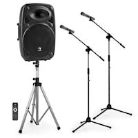 """Streetstar 15 Set Impianto PA Portatile 15"""" Pulpito Asta Per Microfono"""