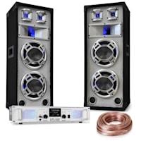 """DJ PA Set """"White Noise"""" 2x500W Amplifier 600W PA Speakers Speaker Cable"""