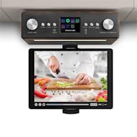 """Connect Soundchef keittiöradio tabletinpidikkeellä DAB+ UKW 2x3""""-kaiuttimet pähkinä"""