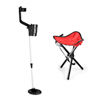 Basic Red Goldsucherset | Metalldetektor + Campinghocker | 16,5 cm Spule  | 1,5 m Tiefe