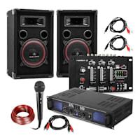 """DJ PA Set """"DJ-14"""", amplificatore PA, mixer USB, 2 x altoparlanti, microfono per karaoke"""