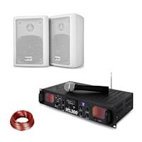 SPL 300 VHF PA Verstärker-Set 2 Lautsprecher Lautsprecherkabel weiß