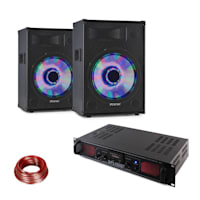 DJ PA set LED15BT, 2 x Fenton PA Speaker, Skytec Hi-fi Amplifier, Speaker Cable