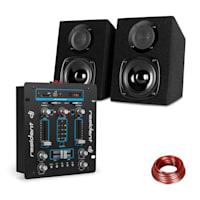 DJ-25 DJ-Mixer + auna ST-2000 Lautsprecher Set schwarz/blau