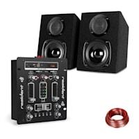 DJ-25 DJ-Mixer + auna ST-2000 Lautsprecher Set schwarz/weiß