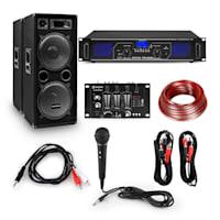 eStar 12 Zoll Set PA per DJ e Party Amplificatore Digitale/Mixer/Casse/Microfono/Cavo