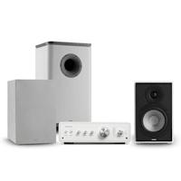 Drive 802 Stereo-Set Verstärker + 2 Regallautsprecher + Subwoofer + Cover Weiß/Grau