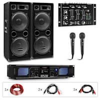 PW-2222 MKII, kit PA per karaoke amplificatore + 2 diffusori PA passivi + mixer + 2 microfoni