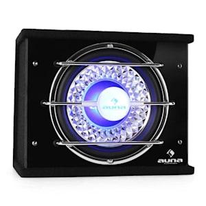 "CB250-34 Auto-Subwoofer 25cm (10"") 300W RMS Bassbox 600W max. blau Lichteffekt"