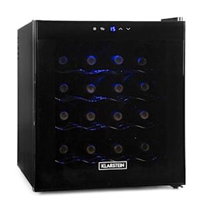 Weinkühlschrank | Fassungsvermögen: 45 Liter / 16 Flaschen | Temperaturbereich: 8 - 18 °C | Touchpanel | blaue LED | Glastür