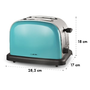 Klarstein  BT-318 Grille-pain 2 tranches inox 1000W rétro turquoise