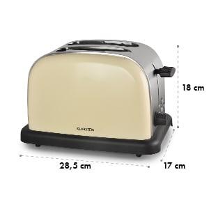 BT-318 toaster broodrooster 2-sneden rvs 1000W retro crème