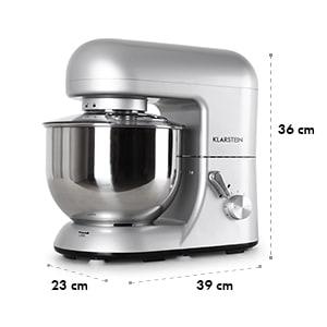 Bella Argentea Küchenmaschine, 1200W 1,6 PS, 5 Liter silber
