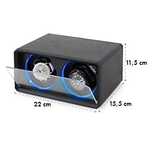 8LED2S Remontoir automatique 2 montres noir effet LED bleu