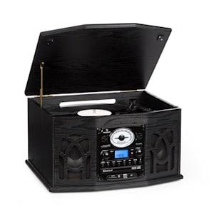 NR-620 Stereoanlage Plattenspieler MP3-Aufnahme Holzgehäuse schwarz