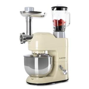 Lucia Küchenmaschine Rührmaschine | 3-in-1: Rührmaschine /  Standmixer / Fleischwolf | 2000 Watt / 2,7 PS | 5,2 Liter Edelstahlschüssel |  1,5 Liter Mixer | 6 Stufen | Pulsfunktion | Rührhaken / Knethaken / Schneebesen |  Spritzschutz | BPA-frei