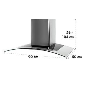 Klarstein GL90WS páraelszívó,rozsdamentes acél,90 cm, 490m3/h