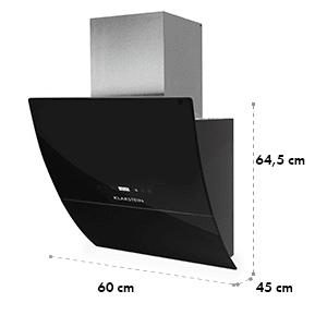 RGL60BL, komínový digestor, voľný priestor pre hlavu, 60cm, 600m³/h
