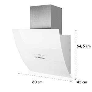 Klarstein RGL60WH kuhinjska napa 60 cm 600 m³/h - belo steklo