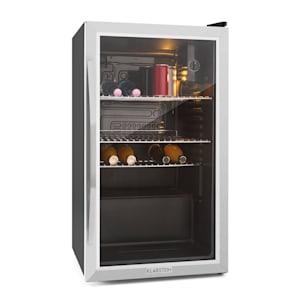 Beersafe XXL Réfrigérateur Réfrigérateur à boissons | Volume : 80 litres | 3 étagères en métal chromé | Température intérieure réglable par degrés de 3 à 10 °C | Interrupteur rotatif | Porte en verre  à double isolation
