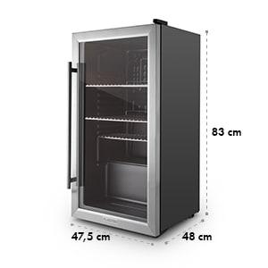 Beersafe XXL Kühlschrank 80 Liter Klasse A+ Glastür Edelstahl