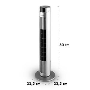 Skyscraper 2G, stĺpový ventilátor s dotykovým ovládaním, 40 W, aromatický olej, diaľkový ovládač, strieborný