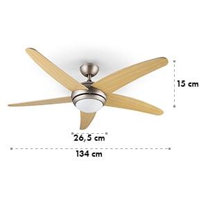 Bolero ventilateur de plafond 2-en-1 134 cm lampe 55 W pales érable télécommande