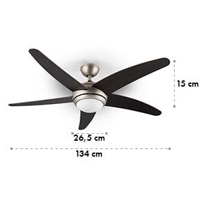 Bolero ventilateur de plafond 2-en-1 134 cm lampe 55 W pales en noyer télécommande