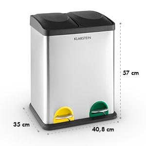 Ekosystem 2 x 18 rostfria soptunnor 36 liter recycling