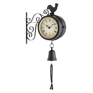 Early Bird Gartenuhr Wanduhr Thermometer 28x34x10cm Glocke Retro
