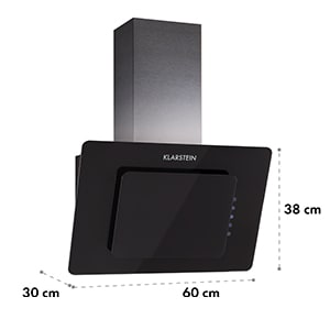 Klarstein Loreal, črna, 65W, 60 cm, 270 m³ / h, napa, zaslon občutljiv na dotik, steklo